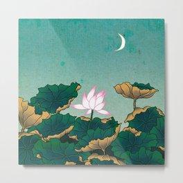 Minhwa: Lotus Pond at Night C Type (Korean traditional/folk art) Metal Print