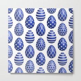 Happy blue Easter eggs Metal Print
