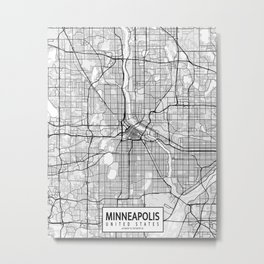 Minneapolis City Map of the United States - Light Metal Print