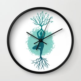 Yoga Strong Roots Women Wall Clock