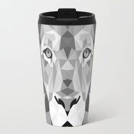 Large Silver Lion Head Travel Mug