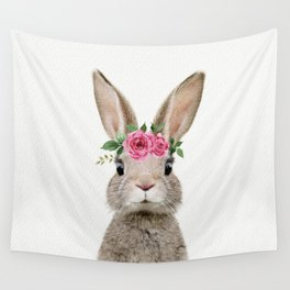 Baby Rabbit with Flower Crown Wall Tapestry