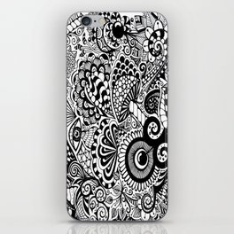 Mushy Madness doodle art Black and White iPhone Skin