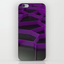 Violet voronoi grate on black background iPhone Skin