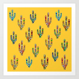 Mosaic Cacti on Yellow Art Print