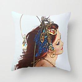 Steampunk Red Throw Pillow