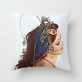 Steampunk Red Throw Pillow