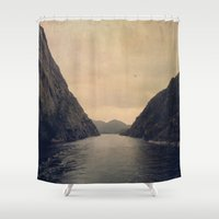 mountains Shower Curtains featuring mountains by Ingrid Beddoes