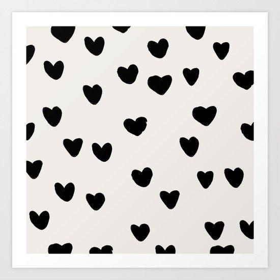 Big Hearts Brush Strokes Pattern Art Print