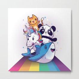 CUTE ANIMALS RIDING RAINBOW Metal Print