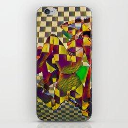 6097-KMA Checkerboard Nude Sitting on Mirror iPhone Skin