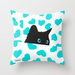 Cat on Blanket with Hearts Throw Pillow