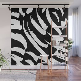 Black and White Brush Strokes Wall Mural