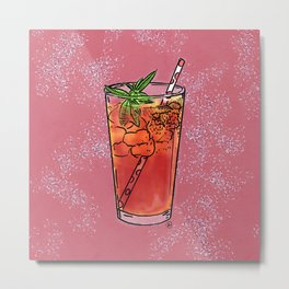 THERE'S ALWAYS TIME FOR ICE TEA! - PINK Metal Print