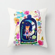 Little fox in Secret place Throw Pillow