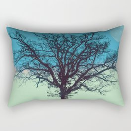 Teal and Aqua Abstract Moonlit Sky Tree Landscape A325 Rectangular Pillow
