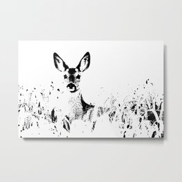 ROE DEER BLACK ON WHITE Metal Print