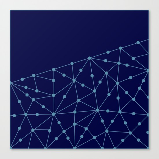 Blue abstract pattern . Mesh Canvas Print