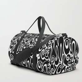 Manchester Lettering Typography - Black and White Duffle Bag