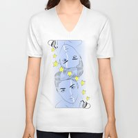 queen V-neck T-shirts featuring Queen by Katerina Gold