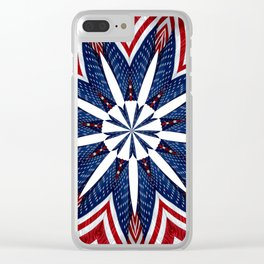 American Flag Kaleidoscope Abstract 2 Clear iPhone Case