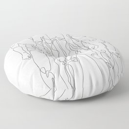 one line male figures Floor Pillow