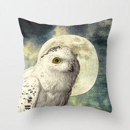 White Snowy Owl Bird Moon Blue Home Decor Wildlife Art A369 Throw Pillow