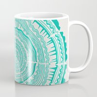 tree rings Mugs featuring Turquoise Tree Rings by Cat Coquillette