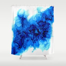 Blue Hydrangeas - Flowing Abstract Painting Shower Curtain
