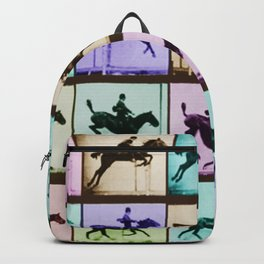Time Lapse Motion Study Horse And Rider Color Backpack