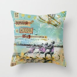 Le bonheur au Mexique Throw Pillow