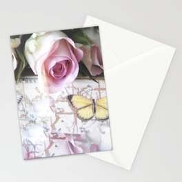 Roses And Butterflies Stationery Cards