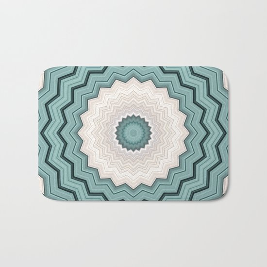Abstract Turquoise Rings Bath Mat
