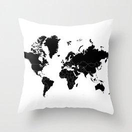 Minimalist World Map Black on White Background Throw Pillow