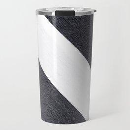 White & Black Stripes Travel Mug