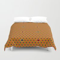 suits Duvet Covers featuring Card Suits by minemory
