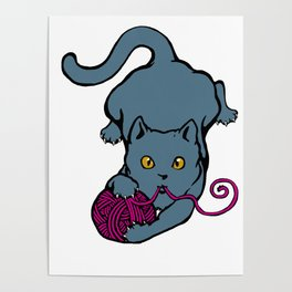 Cats&Yarn - British Shorthair Cat Poster