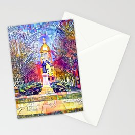 Father Sorin Statue on Notre Dame Main Quad Stationery Cards