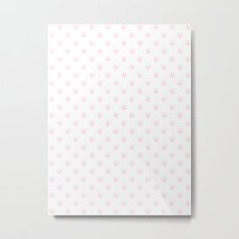 Cotton Candy Pink on White Snowflakes Metal Print
