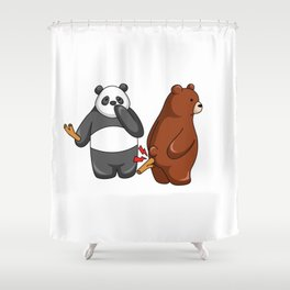Hey Bear Panda Put Stick to Grizzly Shower Curtain