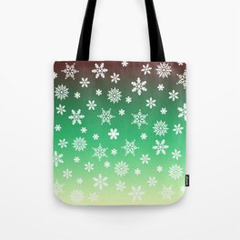 Snow Flurries-Green/Cream Ombre Tote Bag