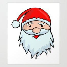 Santa Claus Face - Christmas Xmas Winter Art Print