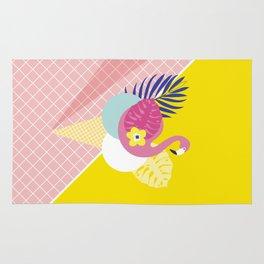 Pink Flamingo Summer Ice cream scoops #summervibes Rug