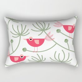 Resting Birdies - Pink Rectangular Pillow