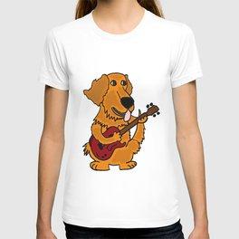 Funny Golden Retriever Dog Playing Guitar Artwork T-shirt