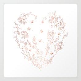 Bee Nice - rose gold & white Art Print