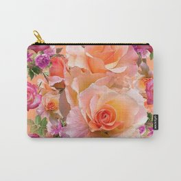PEACHY PINK VICTORIAN ROSE VIGNETTE Carry-All Pouch