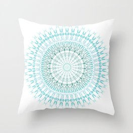 Turquoise White Mandala Throw Pillow