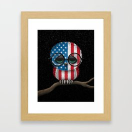 Baby Owl with Glasses and American Flag Framed Art Print