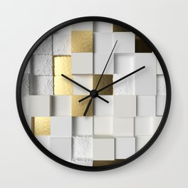 Elegant Cube wall 3D art- white and gold Wall Clock